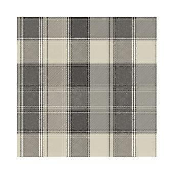 Arthouse Tartan Check Grey Mono Chic Country Cottage Faux Fabric Wallpaper 906703
