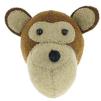 Fiona Walker England Monkey Mini Felt Animal Head, Wall Mounted