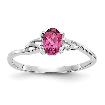 10k White Gold Oval Polished Pink Tourmaline Ring Size 6 Jewelry Gifts for Women