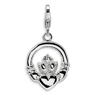 925 Sterling Silver Solid Polished Textured back Rhodium plated Fancy Lobster Closure CZ Cubic Zirconia Simulated Diamon