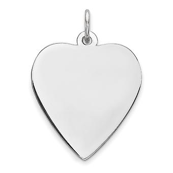925 Sterling Silver Polished Engravable Engraveable Heart Disc Charm - 1.9 Grams