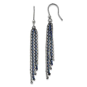 925 Sterling Silver Rhodium and Blue Plated Shepherd Hook Earrings Jewelry Gifts for Women