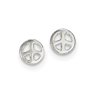 925 Sterling Silver Open Polished Peace Sign Post Earrings Jewelry Gifts for Women - .9 Grams