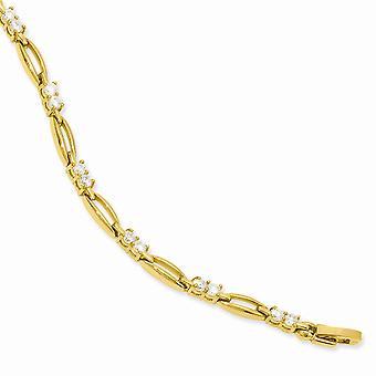 Goud-flitste gepolijst vak vangen sluiting Cubic Zirconia Schakelarmband - 8,25 Inch
