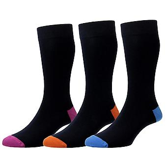 HJ Hall Contrast Heel/Toe Cotton Rich Sock 3 Pack - Navy Mix