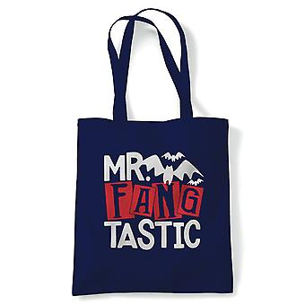 Mr Fangtastic Tote | Halloween Fancy Dress Costume Trick Or Treat | Reusable Shopping Cotton Canvas Long Handled Natural Shopper Eco-Friendly Fashion