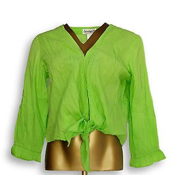 Serengeti Women's Top Long Sleeve Tie Front Jacket Green