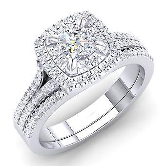 Dazzlingrock collectie 1,00 karaat (CTW) 14K White Diamond kussen gevormde Verlovings ring set 1 CT, wit goud