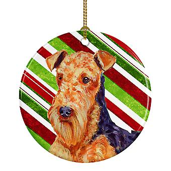 Airedale Candy Cane Holiday Christmas Ceramic Ornament LH9246