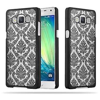 Samsung Galaxy A5 2015 Hardcase Case in BLACK by Cadorabo - Flowers Paisley Henna Design Protective Case – Phone Case Bumper Back Case Cover