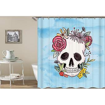 Flowery Skull Drawing Shower Curtain