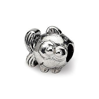 925 sterling sølv poleret antikke finish refleksioner SimStars Kids fisk perle charme