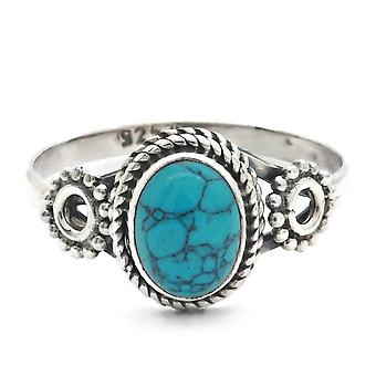 Ring Zilver 925 Sterling Zilver Turquoise Blue Green Stone (Nr: MRI 156)
