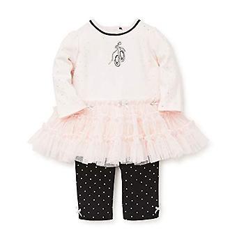 lille meg baby jente's tutu legging sett kjole, ballett knapt rosa / sølv / jet b ...