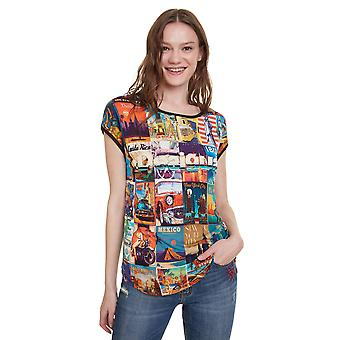 Desigual Women's Phoebe Tshirt with Bright Retro Holiday Postcards