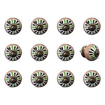 """1.5 """"x 1.5"""" x 1.5 """"keramiek/metaal Multicolor 12 pack knop"""