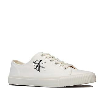 Womens Clavin Klein Jeans Ireland Low Top Lace Up Canvas Pumps In Bright White-