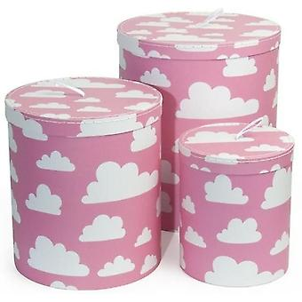 Storage Box Color & Shape Cardboard Jar Cloud 3-Pack Pink