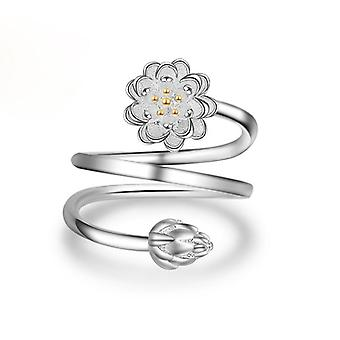 18k white-gold plated floret double wrap rings