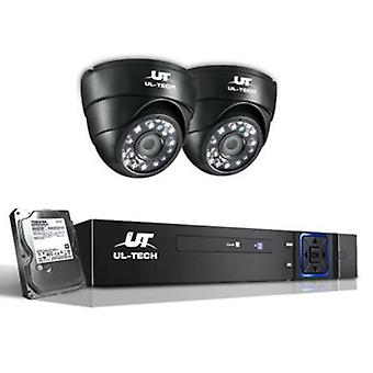 1080P 1 TB Four Channel CCTV Security Camera (2 Pcs) - Black