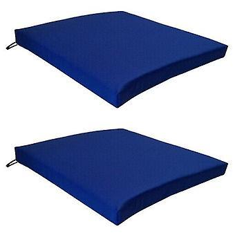 Gardenista Garten Stuhl Sitzpolster | Slip Free hypoallergen Kissen | Wasserbeständige dicke Qualität KissenPads | Ideal für Drinnen & Outdoor | Sichere Krawatten | 2 Stück (Blau)