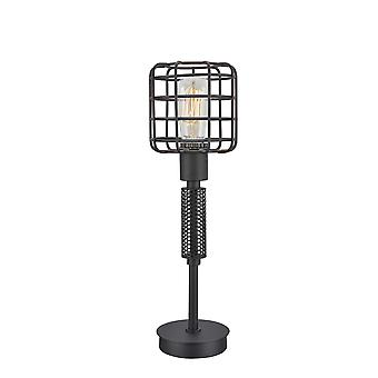 Contemporary Style Caged Shade Table Lamp with Mesh Pattern, Black