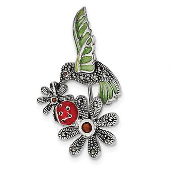 25.5mm 925 Sterling Silver Epoxy Marcasite Red Glass Ladybug Flower Pin Jewelry Gifts for Women
