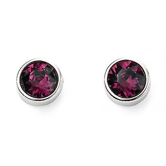 Joshua James February Birthstone Swarovski Amethyst Stud Earrings