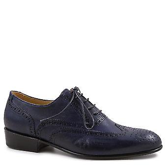 Leonardo Schuhe Frauen's handgemachte Wingtip Schnürsenkel Oxford Schuhe in blauem Leder
