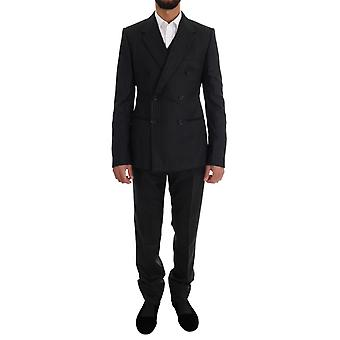 Dolce & Gabbana Black Pin- Striped Double Breasted 3 Piece Suit