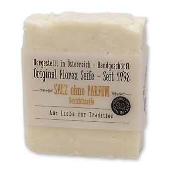 Florex Kaltgerührte Schafmilchseife - Salz - Gesichts-und Duschseife Classic mit 10% Salzanteil ohne Parfüm 150g
