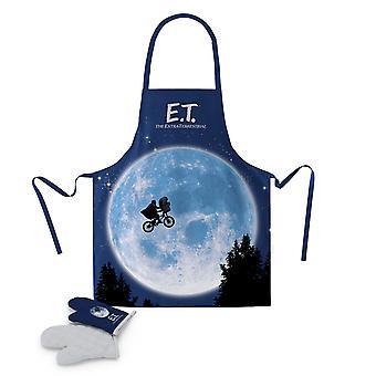 E.t. Le tablier de gril extraterrestre et le gant de four ont été bleus, imprimés, 2 pièces, 100% polyester, taille universelle pour les adultes.