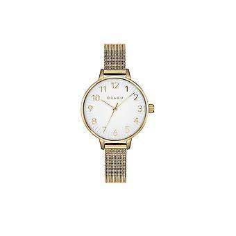 Obaku Syren Gold Tone Women's Mesh Strap Wristwatch V237LXGIMG