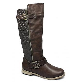 Spot On Catrona Ladies Faux Leather Zip Buckle Biker Boots Brown