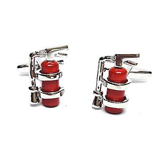 Red Fire Extinguisher Cufflinks - Gift Boxed - Fireman Fighter Cuff Links