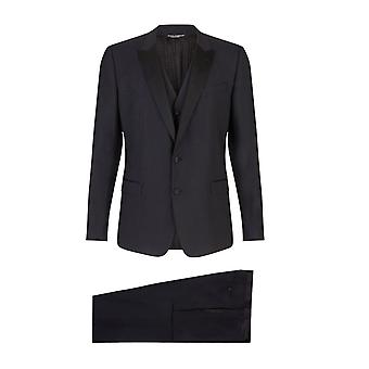 Dolce & Gabbana Suit In Solid-Coloured Wool Blend And Silk. Vest With Buttons