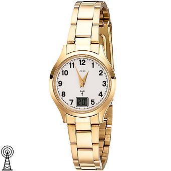 JOBO slečny Náramkové hodinky rádio Rádio hodinky nerezová ocel zlaté pokovené dámy hodinky s datem