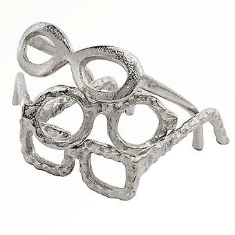 Raw Silver Textured Oval Glasses Sculpture