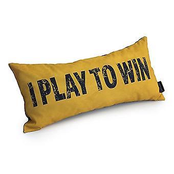 Game Over I Play To Win Slogan - Amarelo | Almofada para Jogos | Migalha de espuma enchida | Resistente à água | Roupa de cama e sofá | Home D cor