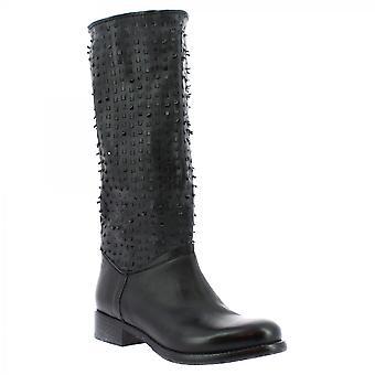 Leonardo Skor Kvinnor & s handgjorda knä höga stövlar i svart openwork kalv läder
