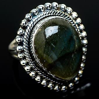 Large Labradorite Ring Size 7.25 (925 Sterling Silver)  - Handmade Boho Vintage Jewelry RING12049
