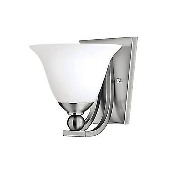 Bolla Wall Light, Brushed Nickel And Glass, 1 Bulb