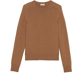 Saint Laurent 603088yalk22611 Men's Beige Wool Sweater