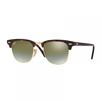 Ray Ban Sunglasses Rb3016 990/9j 51 Clubmaster Shiny Red Havana And Green Gradient Sunglasses