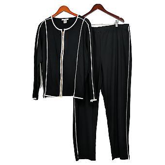 Masseys Plus Set Athleisure Pant Set 2-Piece Black/ White