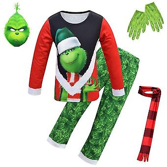 Christmas Grinch Pajamas Mask,Scarf, Gloves
