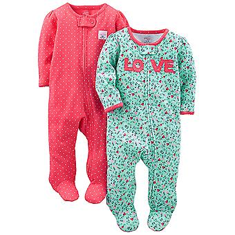 Simple Joys by Carter's Baby Girls' 2-Pack Cotton Footed Sleep and Play, Love...