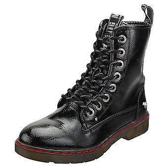 Mustang Lace Up Side Zip Womens Ankle Boots in Black