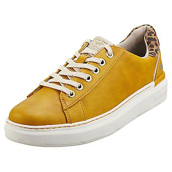 Mustang Lace Up Low Top Womens Platform Trainers in Yellow