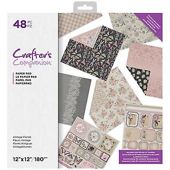 Crafter's Companion Vintage Florals 12x12 Inch Paper Pad